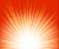 Light rays. Vector illustration of sunburst on red background Stock Image