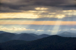 Light Rays from Blue Ridge Parkway NC Appalachian Mountains Royalty Free Stock Images