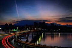 Light Rays on Bridge during Nighttime stock images