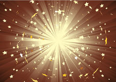 Light rays and burst of stars Stock Image