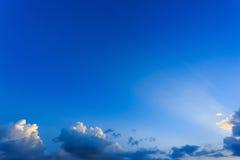 Light rays on clear blue sky Stock Photos