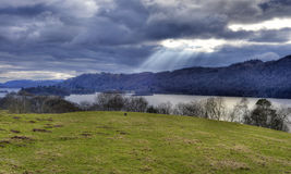 Light rays and the lake Royalty Free Stock Images