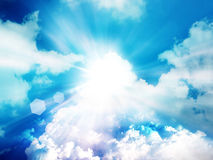 Light rays and clouds sky Royalty Free Stock Images