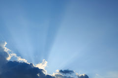 Light rays explosion on clear blue sky Royalty Free Stock Photography