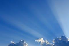 Light rays explosion on clear blue sky Royalty Free Stock Photos