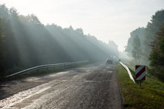 Light rays in fog over the road Royalty Free Stock Photography