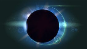 Light rays and lens flare backdrop. Glow light effect. Star burst with sparkles. Solar eclipse, astronomical phenomenon Stock Photos