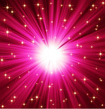 Light Rays Stars Background. Golden stars on vivid magenta light rays effect background Royalty Free Stock Image