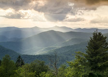 Light Rays Summer Landscape Blue Ridge Parkway NC Royalty Free Stock Photos