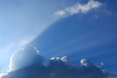 Light rays of sun on clear blue sky Royalty Free Stock Image