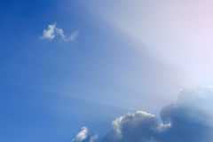 Light rays of sun on clear blue sky Royalty Free Stock Photography