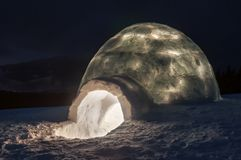 Light in real igloo Stock Images