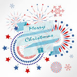 Light red blue firework on christmas holiday with ribbon banner. In winter Royalty Free Stock Images