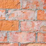 Light red brick wall texture macro closeup, old detailed rough grunge cracked textured bricks copy space background, grungy Stock Image