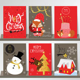 Light red gray love christmas greeting card with snowman,fox,rei Stock Images
