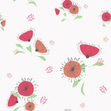 Light red and ocher flowers seamless pattern. Floral vector pattern with decorative flowers and butterflies Royalty Free Stock Photo