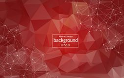 Low poly connecting and dots background. Vector tech design. Light Red vector layout with circles, lines. Design with connection of dots and lines on colorful stock illustration