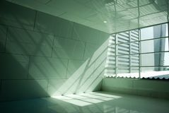 Light and light reflect in the room. Light go through the window. Picture with copy space stock image