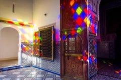 Light reflection, Bahia palace, Marrakech. MARRAKECH, MOROCCO - DECEMBER 11: Colorful light reflection at the interior of Bahia palace in Marrakech. December Stock Photo