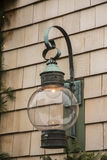 Light Reflection. This lantern showed the reflection of the stores along the water front Royalty Free Stock Image