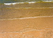 Light reflection on surface of movement sea. Light reflection on the surface of movement sea on sand beach Stock Photos