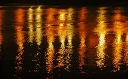 Light reflection on water at night in red yellow almost looks like fireworks stock image
