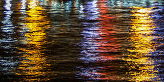 Light Reflections on water. At night royalty free stock image