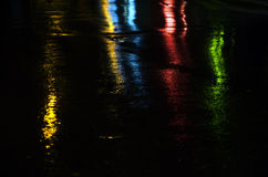 Light reflections on a wet road Stock Photography