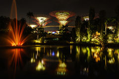 Light river  Singapore. Light reflection on the River in Garden by the bay Royalty Free Stock Image