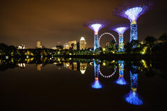 Light River Singapore. Small river in garden by the bay, Singapore. Near marina bay. Night scene, city light and cloudy sky, the reflection light in the river Royalty Free Stock Photography