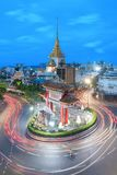 The light on the road roundabout at night and the city in Bangko. K, Thailand Stock Image