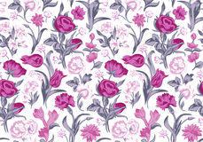 Light romantic seamless vector vintage floral pattern. Royalty Free Stock Photo