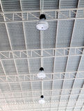 Light on roof of modern storehouse Stock Photo