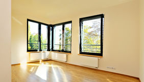 Light room with corner windows Stock Photo