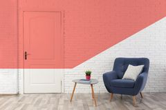 Light room interior with white door. In brick wall royalty free stock photo