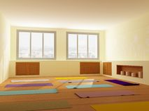 Light room for yoga and fitness Stock Image