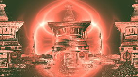 Light round a Buddhist altar stock footage
