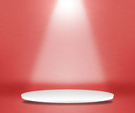 Round Podium Red Background. Light Round Podium Red Background Royalty Free Stock Images