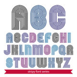 Light rounded geometric font created from lines. Vector decorati Stock Photos