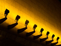 Light row with shallow depth of field. Warm Light row with shallow depth of field, on wall, at hk, china Royalty Free Stock Images