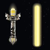 Light saber. Cosmic light saber design, yellow ray blade. Metal chrome fantasy hilt with curve ornament vintage style, isolated on black background. Flashlight Royalty Free Stock Photography