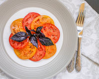 Light salad of juicy red and yellow tomatoes and red Basil. Salt and pepper. Gourmet appetizer. Selective focus Stock Photography