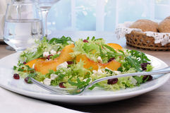 Light salad with peaches. Salad of lettuce and arugula with peaches, feta cheese, cranberries Royalty Free Stock Photography