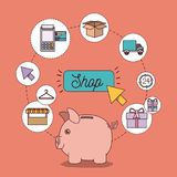 Light salmon color background with set of shop icons and savings in moneybox. Vector illustration Royalty Free Stock Photo