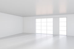 Light scattered light falling from the window into the white room. 3D rendering Royalty Free Stock Photos
