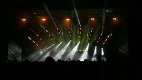 Light scene in large stadium at rave party stock video