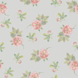 Light seamless grey backgrounds with small roses. Watercolor royalty free illustration