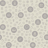Light Seamless Pattern with Universal Icons Stock Photos