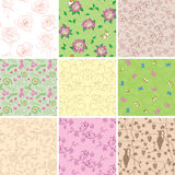 Light seamless patterns with flowers - vector backgroun Royalty Free Stock Photos