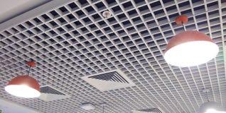 A light set row of designed interior ceiling. stock image